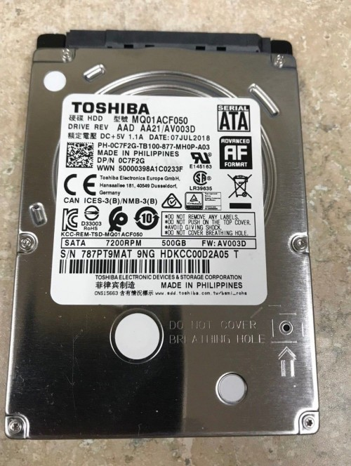 Ổ Cứng Laptop Toshiba 500G 7200RPM 0C7F2G Data 2018